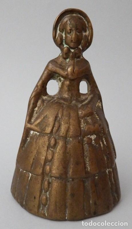 Antigüedades: CAMPANILLA EN BRONCE DE DAMA ANTIGUA - Foto 3 - 131560466