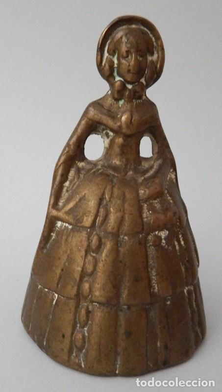 Antigüedades: CAMPANILLA EN BRONCE DE DAMA ANTIGUA - Foto 4 - 131560466