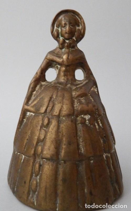 Antigüedades: CAMPANILLA EN BRONCE DE DAMA ANTIGUA - Foto 5 - 131560466