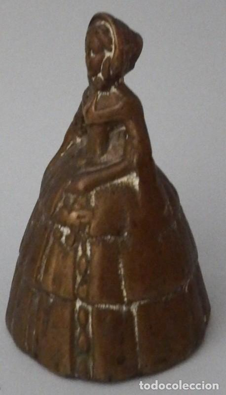Antigüedades: CAMPANILLA EN BRONCE DE DAMA ANTIGUA - Foto 6 - 131560466