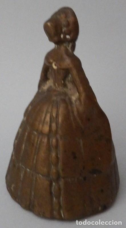 Antigüedades: CAMPANILLA EN BRONCE DE DAMA ANTIGUA - Foto 8 - 131560466