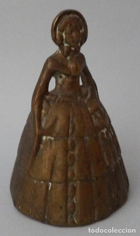 Antigüedades: CAMPANILLA EN BRONCE DE DAMA ANTIGUA - Foto 10 - 131560466