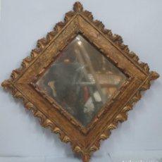 Antigüedades: BONITO ESPEJO DE MADERA TALLADA Y DORADA. Lote 131565790