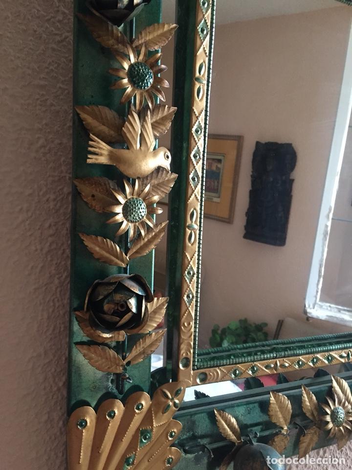 Antigüedades: Espejo peruano hecho a mano 80x51 - Foto 3 - 131662194