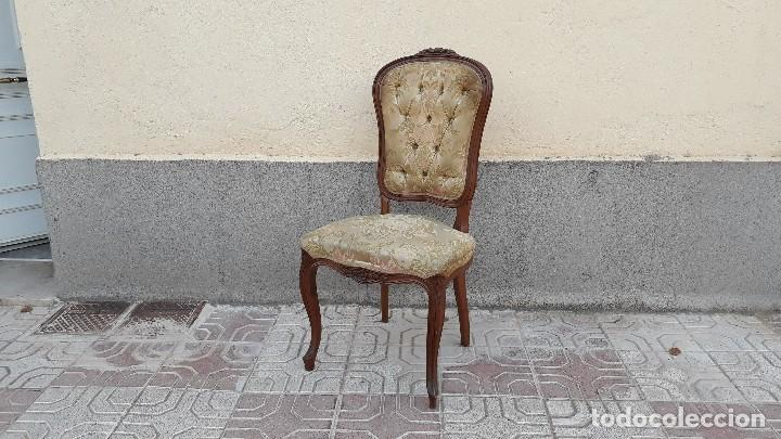 Antigüedades: Pareja de sillas antiguas capitoné estilo Luis XV. Dos sillas antiguas isabelina retro vintage - Foto 2 - 131664286