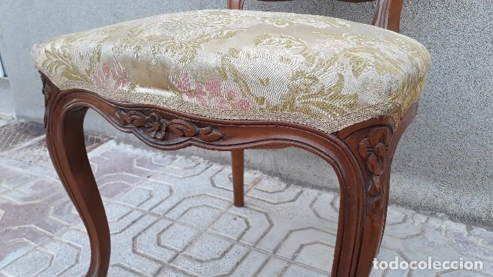Antigüedades: Pareja de sillas antiguas capitoné estilo Luis XV. Dos sillas antiguas isabelina retro vintage - Foto 6 - 131664286
