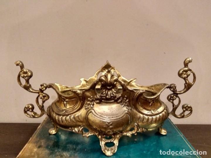 Antigüedades: CENTRO DE MESA BANDEJA JARDINERA DE BRONCE Y ESPEJO DOS PIEZAS ESTILO ISABELINO - Foto 5 - 131709626