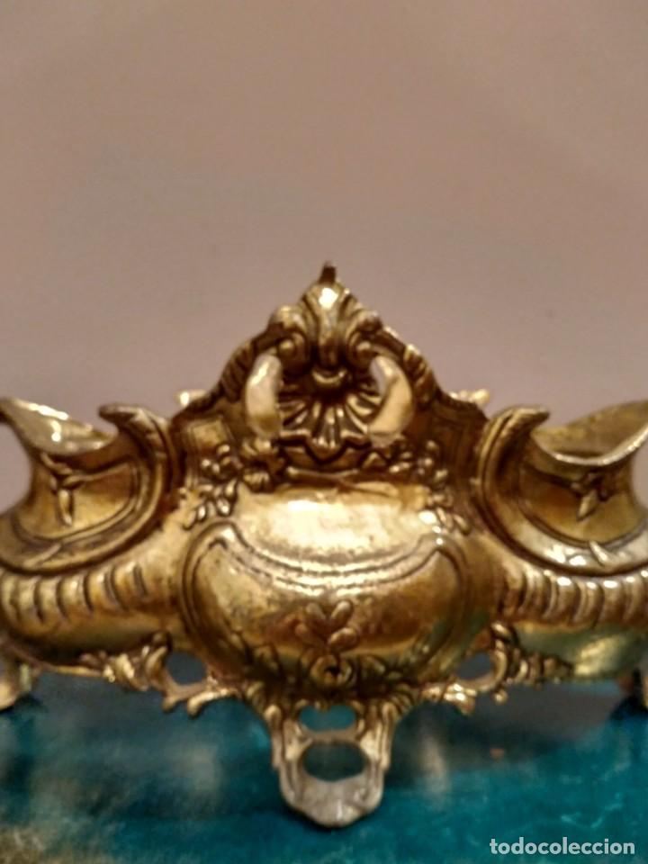 Antigüedades: CENTRO DE MESA BANDEJA JARDINERA DE BRONCE Y ESPEJO DOS PIEZAS ESTILO ISABELINO - Foto 9 - 131709626