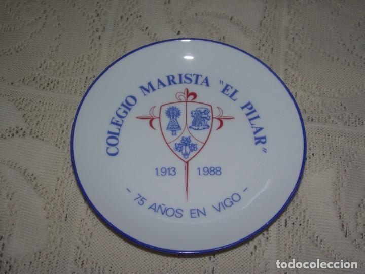 PLATO PORCELANA SANTA CLARA. COLEGIO MARISTA EL PILAR. 1913 - 1988. 75 AÑOS EN VIGO (Antigüedades - Porcelanas y Cerámicas - Santa Clara)