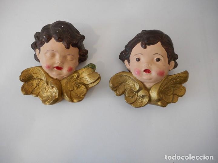PAREJA DE ÁNGELES (Antigüedades - Religiosas - Varios)