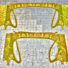 Antigüedades: PAREJA DE GRANDES GALERÍAS PARA CORTINAJES. TERCIOPELO. ART NOUVEAU. FRANCIA. FIN XIX. Lote 131796842