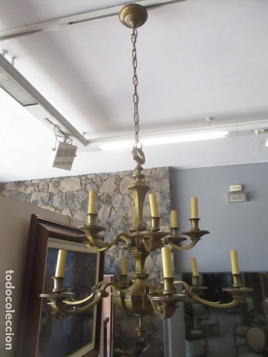 ESPLENDIDA LAMPARA DE TECHO - BRONCE - 12 LUCES - IDEAL COMEDOR, SALÓN - AÑOS 40 (Antigüedades - Iluminación - Lámparas Antiguas)
