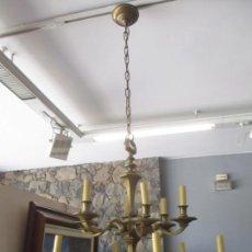 Antigüedades: ESPLENDIDA LAMPARA DE TECHO - BRONCE - 12 LUCES - IDEAL COMEDOR, SALÓN - AÑOS 40. Lote 131878302
