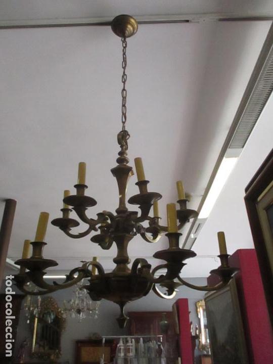 Antigüedades: Esplendida Lampara de Techo - Bronce - 12 Luces - Ideal Comedor, Salón - Años 40 - Foto 2 - 131878302