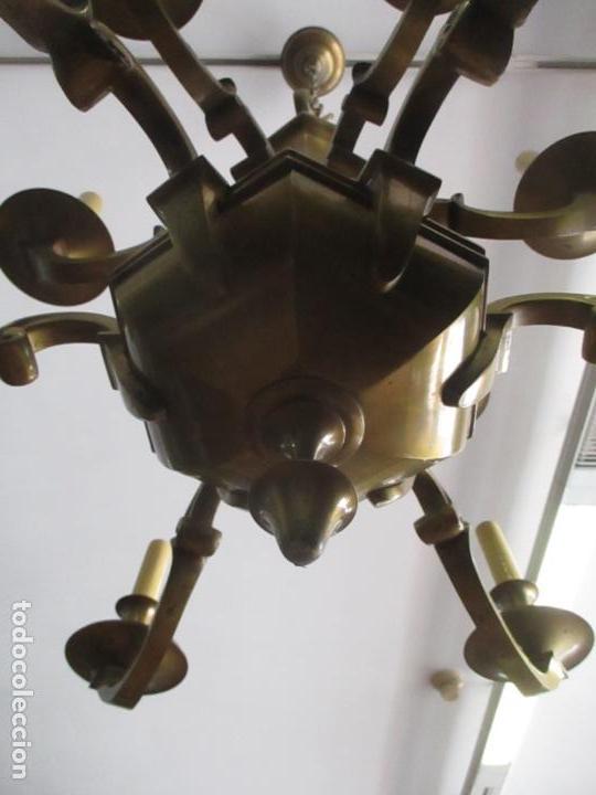 Antigüedades: Esplendida Lampara de Techo - Bronce - 12 Luces - Ideal Comedor, Salón - Años 40 - Foto 3 - 131878302