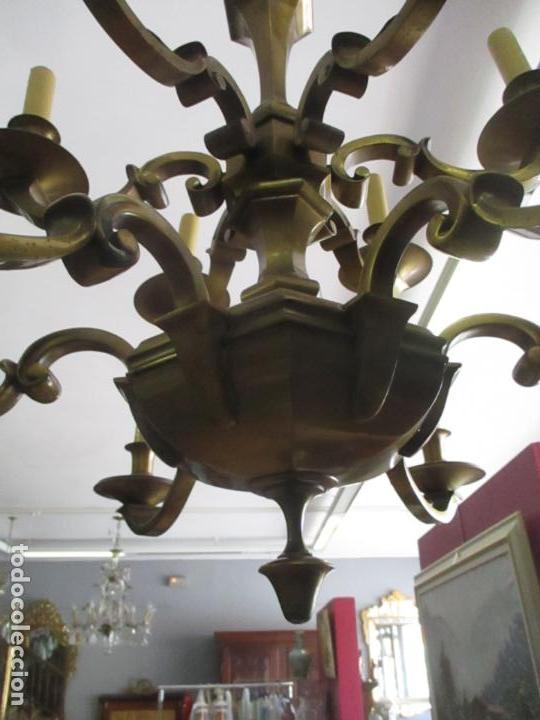 Antigüedades: Esplendida Lampara de Techo - Bronce - 12 Luces - Ideal Comedor, Salón - Años 40 - Foto 4 - 131878302