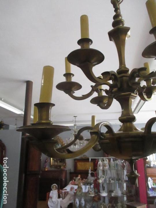 Antigüedades: Esplendida Lampara de Techo - Bronce - 12 Luces - Ideal Comedor, Salón - Años 40 - Foto 5 - 131878302