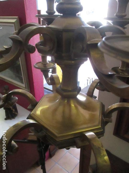 Antigüedades: Esplendida Lampara de Techo - Bronce - 12 Luces - Ideal Comedor, Salón - Años 40 - Foto 8 - 131878302