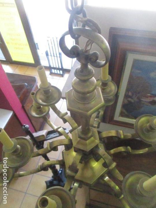 Antigüedades: Esplendida Lampara de Techo - Bronce - 12 Luces - Ideal Comedor, Salón - Años 40 - Foto 9 - 131878302