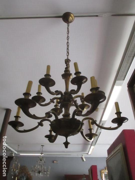 Antigüedades: Esplendida Lampara de Techo - Bronce - 12 Luces - Ideal Comedor, Salón - Años 40 - Foto 10 - 131878302