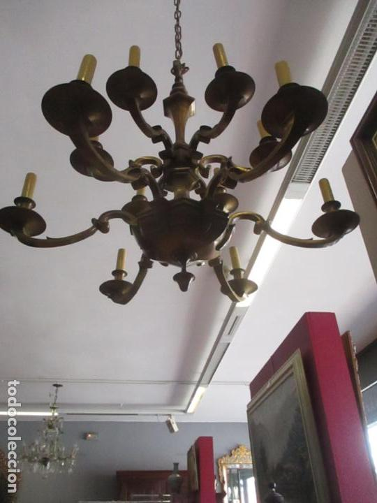 Antigüedades: Esplendida Lampara de Techo - Bronce - 12 Luces - Ideal Comedor, Salón - Años 40 - Foto 11 - 131878302
