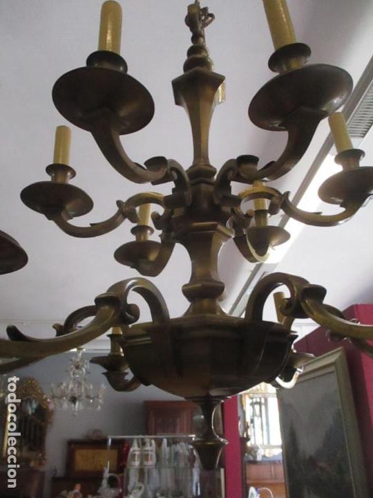 Antigüedades: Esplendida Lampara de Techo - Bronce - 12 Luces - Ideal Comedor, Salón - Años 40 - Foto 12 - 131878302