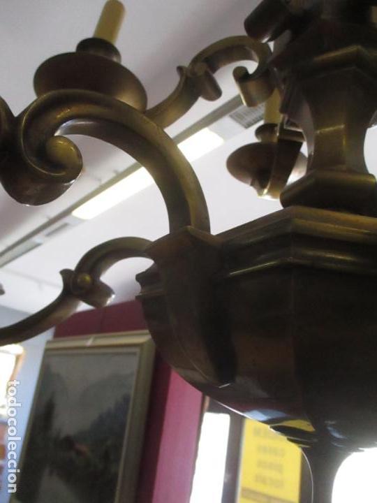 Antigüedades: Esplendida Lampara de Techo - Bronce - 12 Luces - Ideal Comedor, Salón - Años 40 - Foto 14 - 131878302