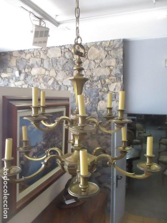 Antigüedades: Esplendida Lampara de Techo - Bronce - 12 Luces - Ideal Comedor, Salón - Años 40 - Foto 17 - 131878302