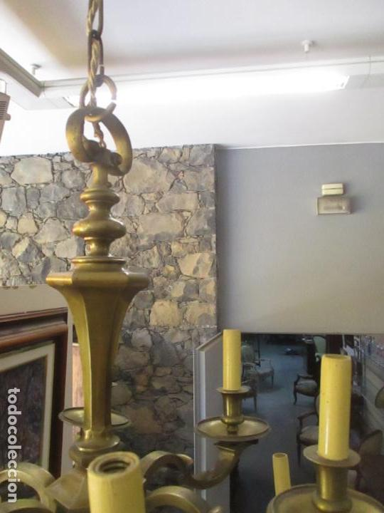 Antigüedades: Esplendida Lampara de Techo - Bronce - 12 Luces - Ideal Comedor, Salón - Años 40 - Foto 18 - 131878302