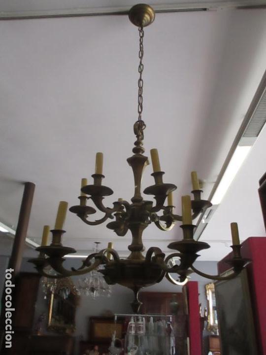 Antigüedades: Esplendida Lampara de Techo - Bronce - 12 Luces - Ideal Comedor, Salón - Años 40 - Foto 20 - 131878302