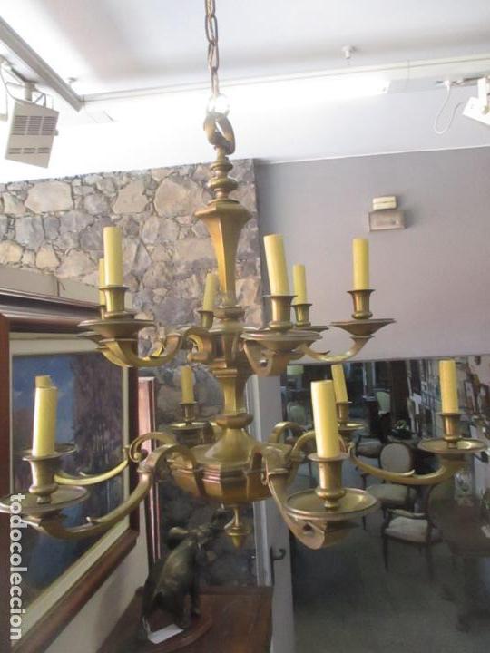 Antigüedades: Esplendida Lampara de Techo - Bronce - 12 Luces - Ideal Comedor, Salón - Años 40 - Foto 21 - 131878302