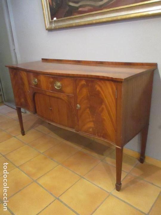 Antigüedades: Antiguo Mueble Aparador - Mesa, Cómoda - Bufet Victoriano, Inglés - Madera Caoba - Forma Curva - Foto 3 - 144070385