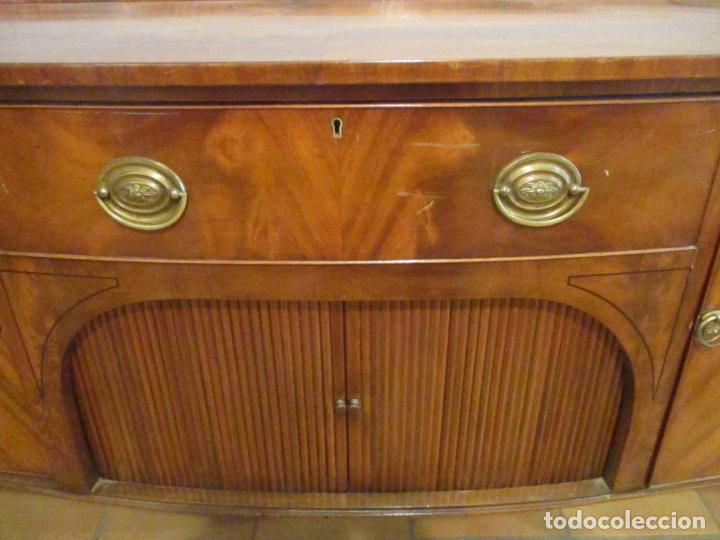 Antigüedades: Antiguo Mueble Aparador - Mesa, Cómoda - Bufet Victoriano, Inglés - Madera Caoba - Forma Curva - Foto 4 - 144070385