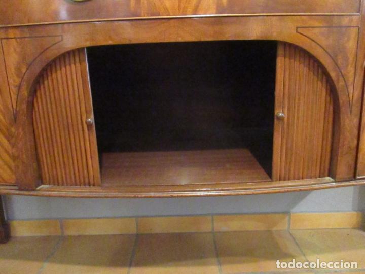 Antigüedades: Antiguo Mueble Aparador - Mesa, Cómoda - Bufet Victoriano, Inglés - Madera Caoba - Forma Curva - Foto 5 - 144070385