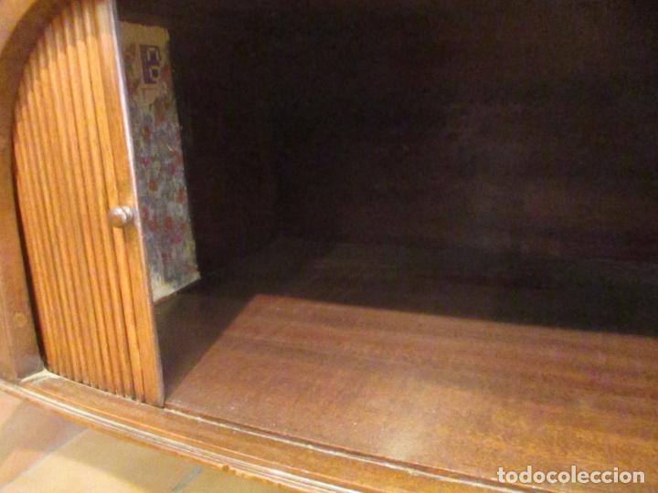 Antigüedades: Antiguo Mueble Aparador - Mesa, Cómoda - Bufet Victoriano, Inglés - Madera Caoba - Forma Curva - Foto 6 - 144070385
