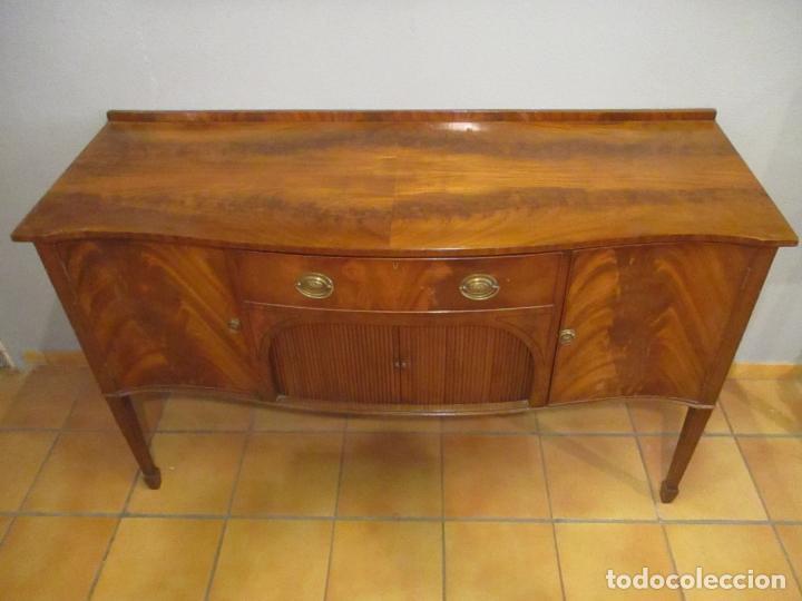 Antigüedades: Antiguo Mueble Aparador - Mesa, Cómoda - Bufet Victoriano, Inglés - Madera Caoba - Forma Curva - Foto 15 - 144070385