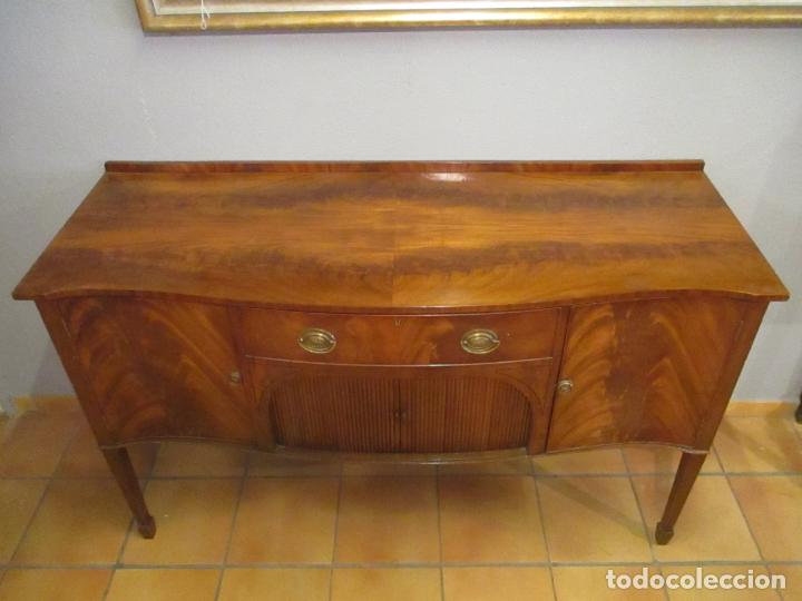 Antigüedades: Antiguo Mueble Aparador - Mesa, Cómoda - Bufet Victoriano, Inglés - Madera Caoba - Forma Curva - Foto 22 - 144070385