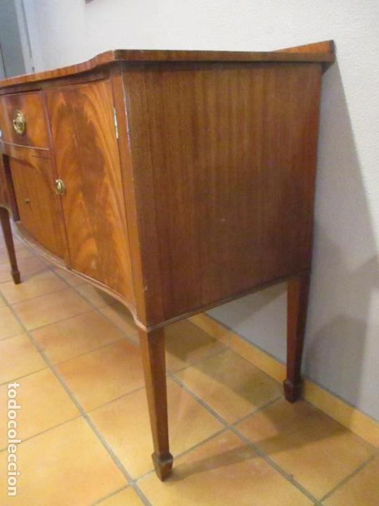 Antigüedades: Antiguo Mueble Aparador - Mesa, Cómoda - Bufet Victoriano, Inglés - Madera Caoba - Forma Curva - Foto 24 - 144070385