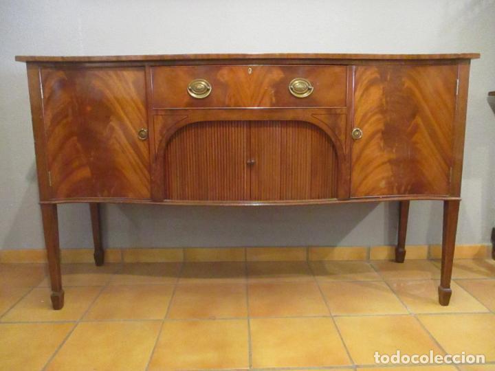 Antigüedades: Antiguo Mueble Aparador - Mesa, Cómoda - Bufet Victoriano, Inglés - Madera Caoba - Forma Curva - Foto 30 - 144070385