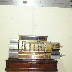 Antigüedades: ANTIGUA CAJA REGISTRADORA NATIONAL DE BRONCE DORADO. Lote 131899762
