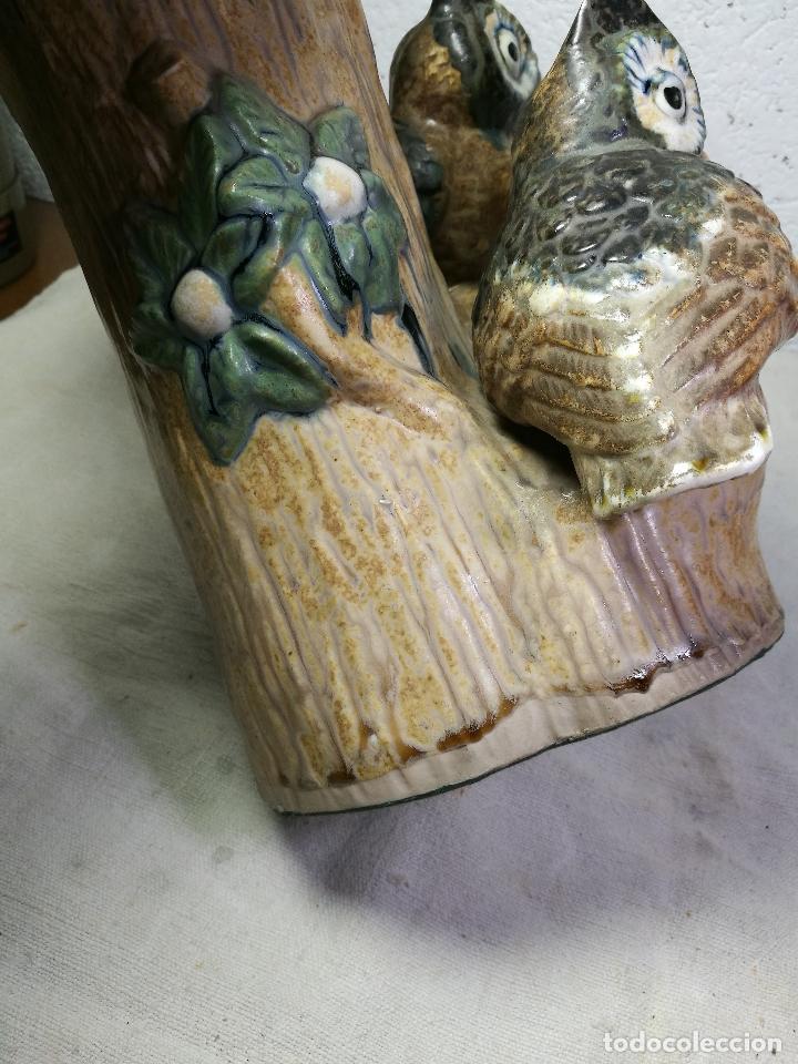 Antigüedades: Jarrón porcelana BUHOS de PAL (Porcelana Artística de Levante) sellado años 70 - Foto 2 - 131900278