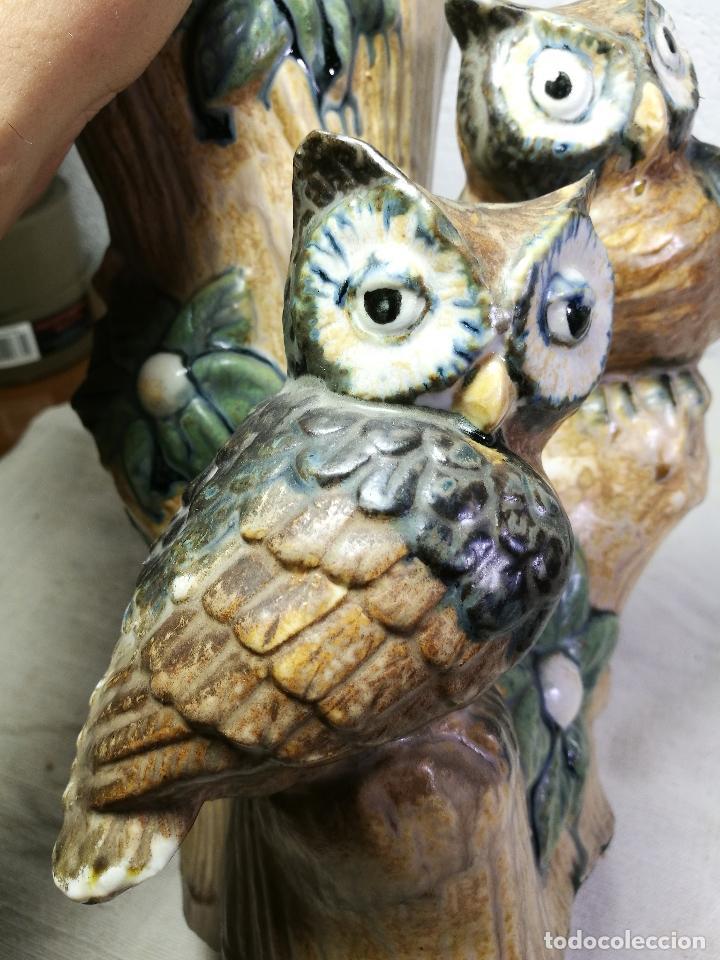 Antigüedades: Jarrón porcelana BUHOS de PAL (Porcelana Artística de Levante) sellado años 70 - Foto 3 - 131900278