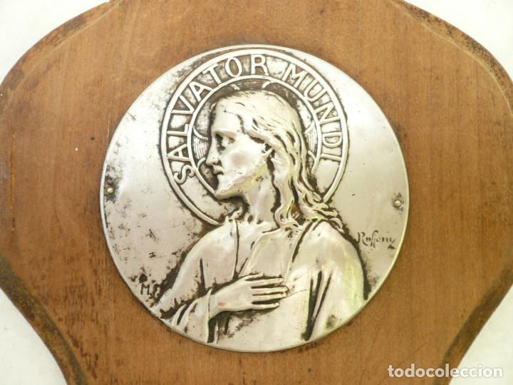 Antigüedades: BENDITERA FRANCESA. CIRCA 1900. CRISTO SALVADOR DEL MUNDO. FIRMADA POR RUFFONY - Foto 2 - 131948314