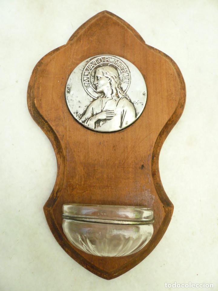Antigüedades: BENDITERA FRANCESA. CIRCA 1900. CRISTO SALVADOR DEL MUNDO. FIRMADA POR RUFFONY - Foto 6 - 131948314