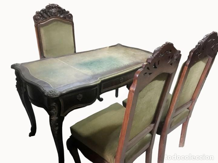 CONJUNTO DESPACHO FRANCES MESA , 2 SILLAS TAPIZADAS Y 1 SILLON APROX.MITAD DEL SIGLO XIX (Antigüedades - Muebles Antiguos - Mesas de Despacho Antiguos)