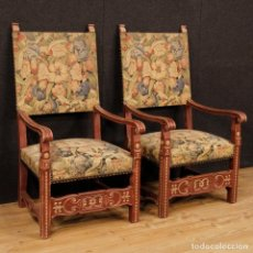 Antigüedades - Par de sillones franceses en madera pintada - 131973982