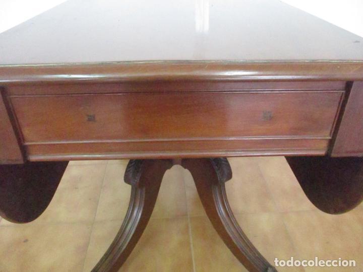 Antigüedades: Mesa Plegable con Alas - Victoriana, Inglaterra - Madera de Caoba - con Cajón - Principios S. XX - Foto 19 - 132010506