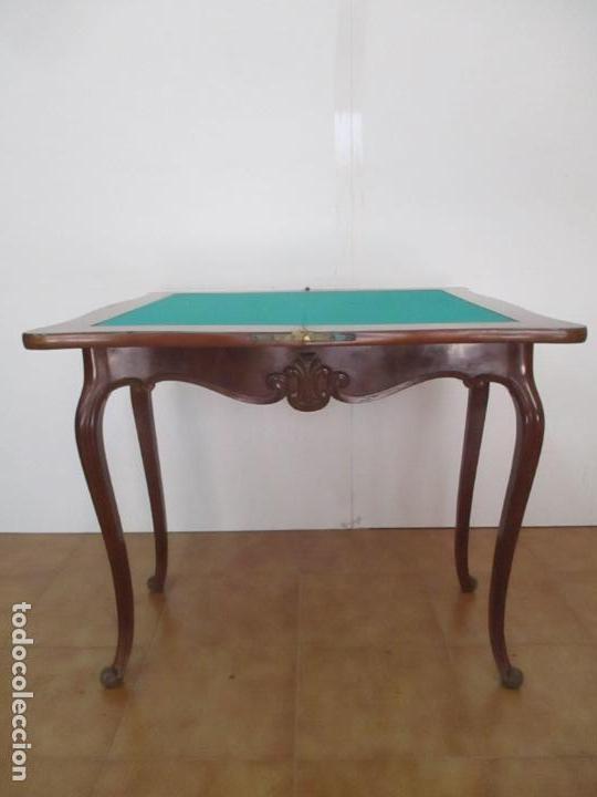 Antigüedades: Mesa de Juego - Madera de Caoba - Napoleón III, Francia - S. XIX - Foto 24 - 132012442