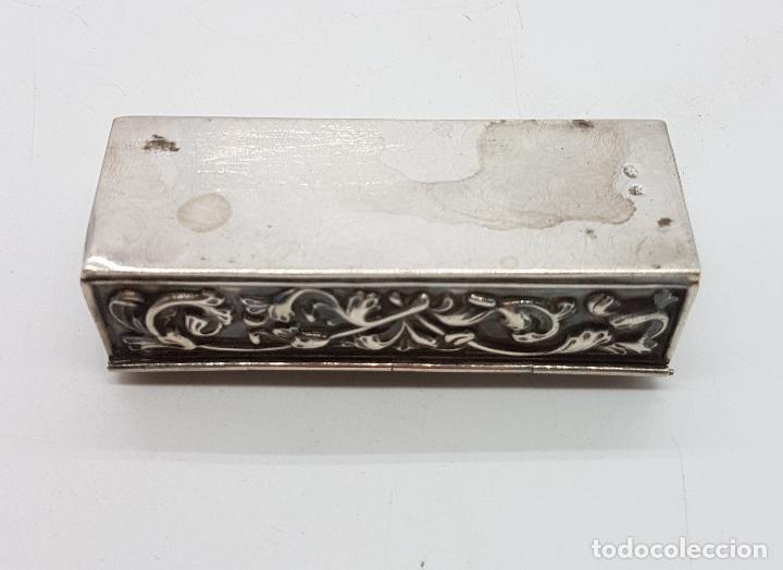 Antigüedades: Caja antigua modernista en plata de ley bellamente repujada a mano, con punzones . - Foto 10 - 132029298