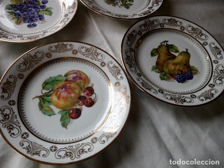 Antigüedades: Precioso juego de postre de porcelana porcelana kahla,gdr,motivo frutas y oro - Foto 5 - 132031058